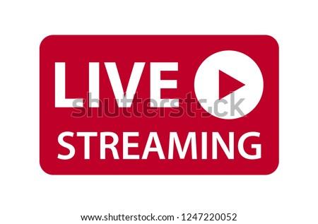 Live streaming icon vector symbol, isolated on white background. Button video player . Stock photo ©