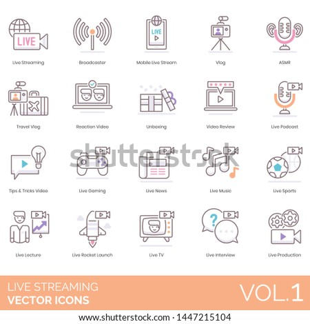 Live streaming icons including broadcaster, mobile, vlog, ASMR, travel, reaction video, unboxing, review, podcast, tips and tricks, gaming, news, music, sports, lecture, TV, interview, production.
