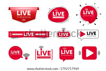 Live streaming icons. Red buttons of broadcasting, live online stream. Play video streaming sign. Broadcast television banner. Template for tv news, shows and live performance. Vector speech bubbles