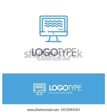 Live, Streaming, Live Streaming, Digital Blue Outline Logo Place for Tagline