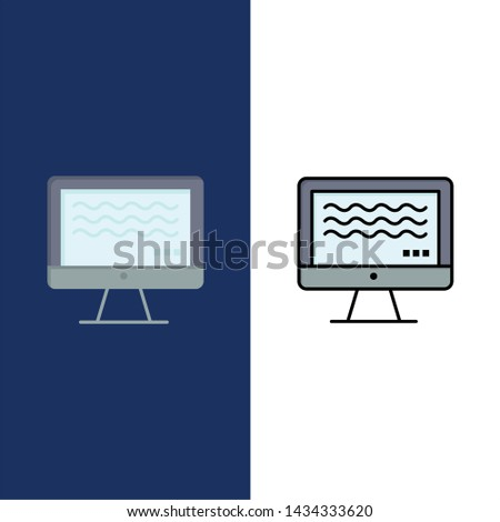 Live, Streaming, Live Streaming, Digital  Icons. Flat and Line Filled Icon Set Vector Blue Background