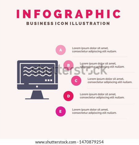 Live, Streaming, Live Streaming, Digital Solid Icon Infographics 5 Steps Presentation Background. Vector Icon Template background