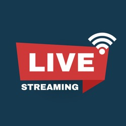 Live streaming logo. Online stream sign. Flat simple design.