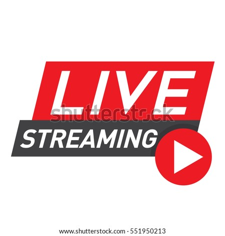 Live streaming logo - red vector design element with play button for news and TV or online broadcasting