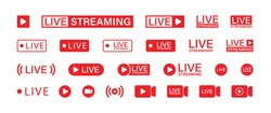 Live streaming set red icons. Play button icon vector illustration.