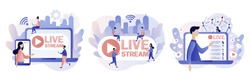 Live streaming. Tiny people watch live stream in social networks. Online video chat. Modern flat cartoon style. Vector illustration on white background