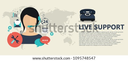 Live support banner. Business customer care service concept. Icons set of contact us, support, help, phone call and website click. Flat vector illustration.