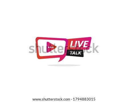 Live talk Logo. Element for broadcasting or online tv live streaming program. Video stream icons.