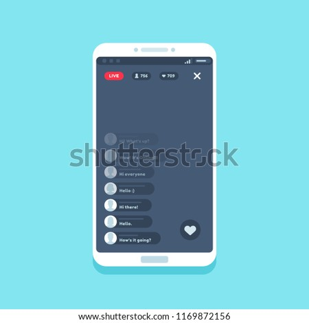 Live video stream on phone. Online videos stories streaming on smartphone screen app interface, internet chat comments living streams UI button device vector flat illustration