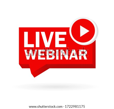 Live webinar, great design for any purposes. Red web banner on white background. Vector graphic illustration.