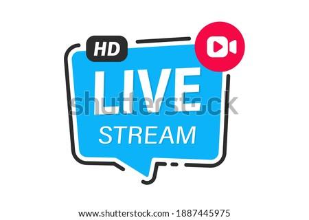 Live webinar. Internet event, conference. Live video streaming. Online streaming. Live video streaming button. Online study, education, seminar