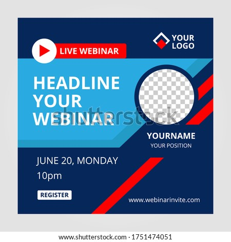 Live webinar invite template. Banner live webinar promotion for social media.