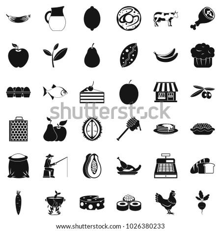 Livelihood icons set. Simple set of 36 livelihood vector icons for web isolated on white background