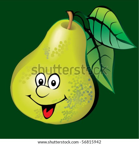 Lively pear. Vector art-illustration on a green background.