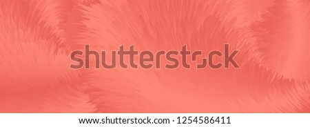 Living coral trendy color 2019 abstract fluffy fur banner. Vector background