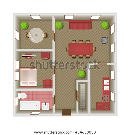 Living room bedroom and bathroom interior top view vector illustration #454658038