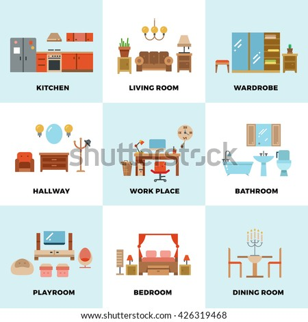 Living room bedroom kitchen kids bathroom dining work space hallway flat vector icons for Different types of living rooms