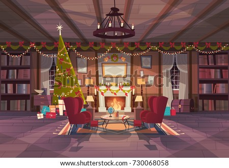 living room decorated for