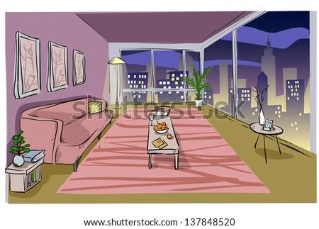 Living room design, Night time Hand drawn sketch.