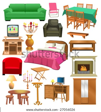 Living Room Furniture Stock Vector Illustration 27056026