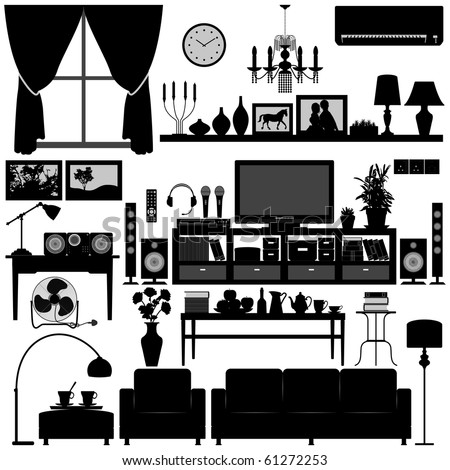 Interior Design Living Room on Living Room Furniture Home Interior Design Stock Vector 61272253