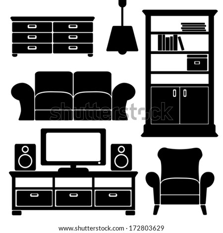 Living room furniture icons set,  black isolated silhouettes, vector illustrations
