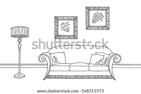 living room graphic black white