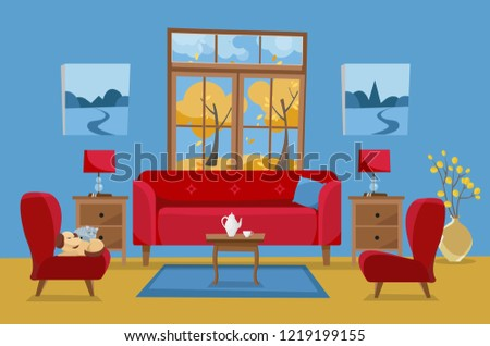 living room in yellow red blue