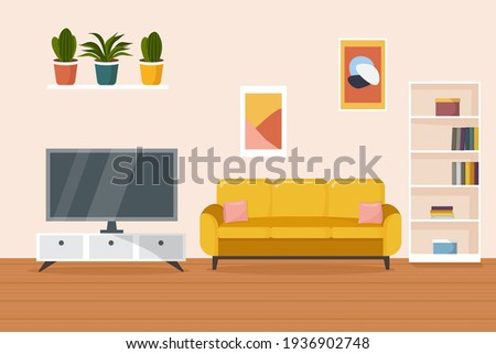 Living room interior. Comfortable yellow sofa, bookcase, TV and house plants. Flat style vector illustration. Сток-фото ©