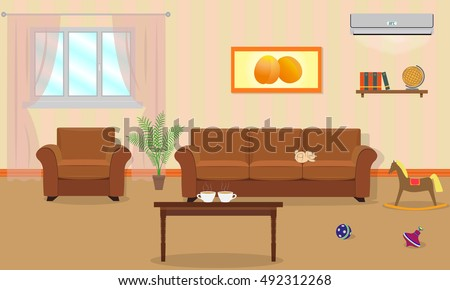 living room interior in orange