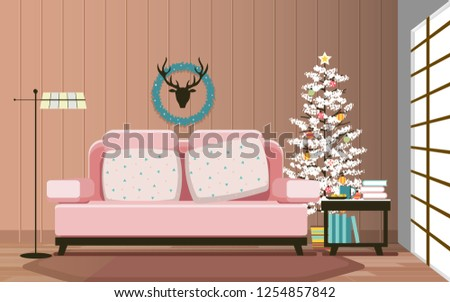 living room interior in the christmas day - Shutterstock ID 1254857842