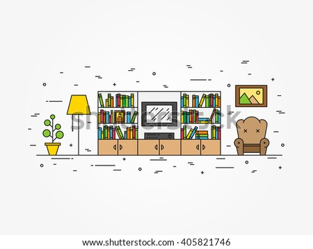 living room interior line art