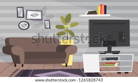 Living room interior. Modern furniture and cozy apartment. Couch and TV. Flat vector illustration