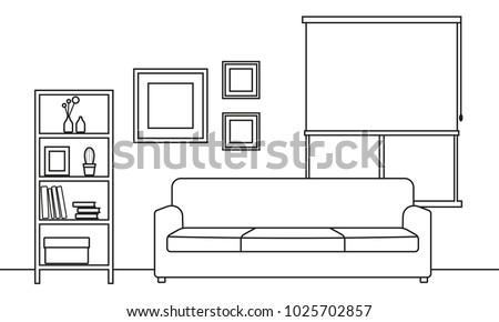 living room interior outline