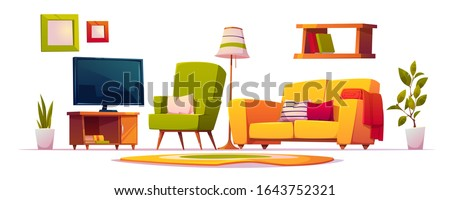 living room interior set with