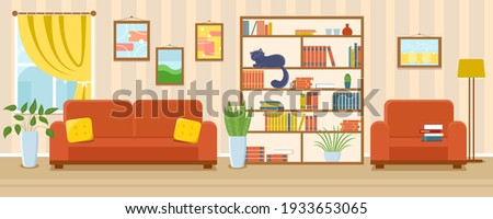 Living room interior vector banner. Cozy sofa with pillows, armchair, cat on bookcase, pants, window with curtain, pictures on the wall. Sweet home cartoon illustration of apartement with furniture.