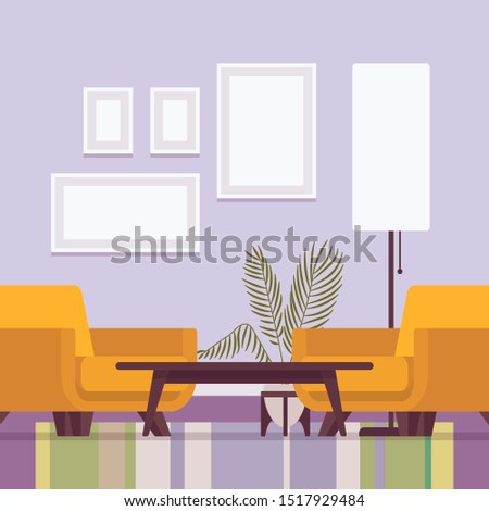 Living room interior with armchairs. Pair of soft yellow chairs, visually appealing for comfortable, inviting, space into relaxing or private retreat for a talk. Vector flat style cartoon illustration