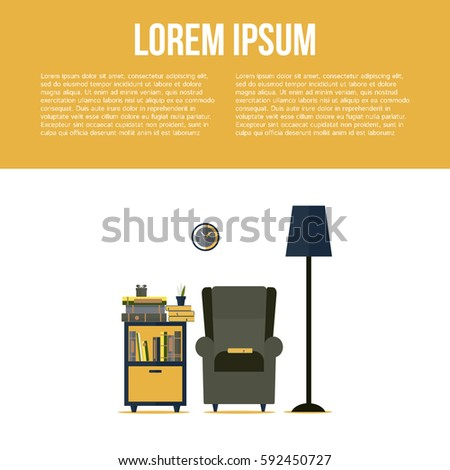 Living room interior with bookcase, armchair, lamp and clock in flat style design. I love reading concept. Vector illustration with place for your text.