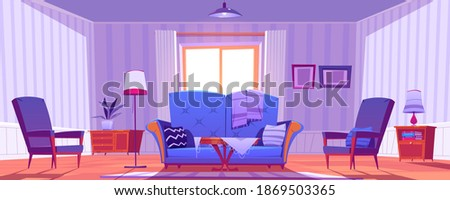 Living room interior with old fashioned furniture and decor. Sofa with pillows, coffee table and armchairs. Cozy apartment with couch, rag, pictures on wall, empty home Cartoon vector illustration