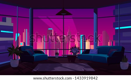 Living room interior with panoramic window at night time, dark apartment with extinguished light, furniture and floor-to ceiling glass wall with futuristic neon city view, Cartoon vector illustration