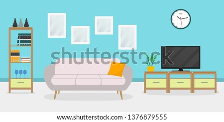 Living room interior with sofa, TV, shelf and pictures on the wall. Apartment, home or house inside with modern furniture. Vector illustration.