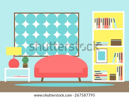 Modern Living Room Interior With Furniture Sofa Bookcase Picture