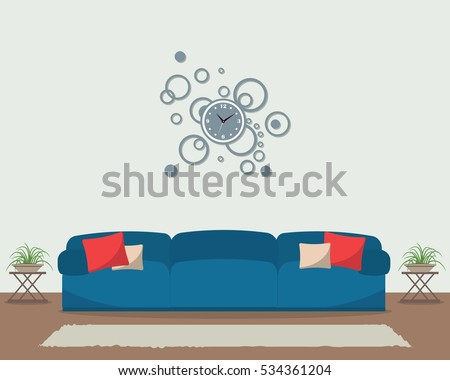 living room with blue sofa and
