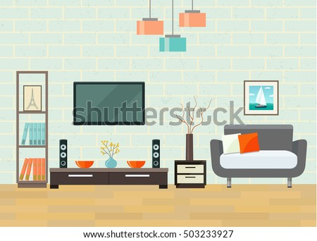 Living Room With Chair And Television Flat Style Vector Illustration
