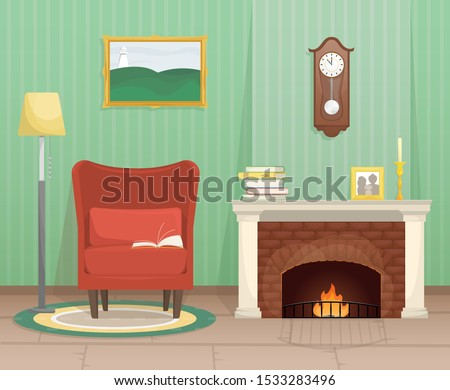 living room with fireplace and
