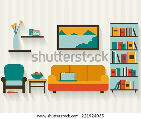 Living Room With Furniture And Long Shadows Flat Style Vector Illustration
