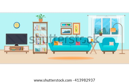 Living room with furniture. Cozy interior with sofa and tv.  Flat style vector illustration. - Shutterstock ID 413982937