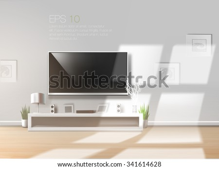 living room with low shelf and