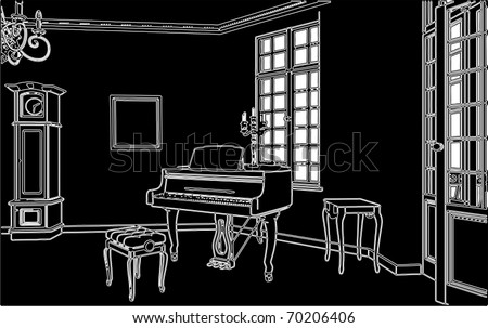 living room with piano vector 02