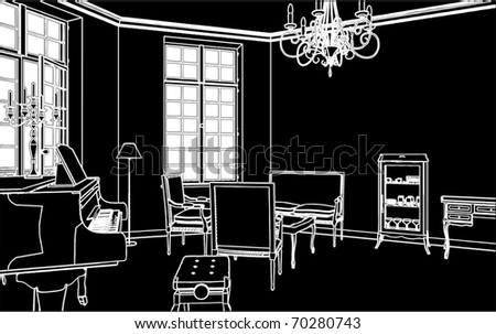 Living Room With Piano Vector 03